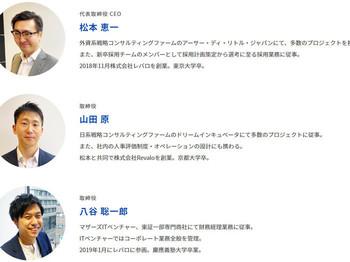 レバロのボードメンバーです。代表取締役CEO 松本恵一取締役      山田原取締役      八谷聡一郎